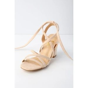 770dd5cfdb8 Lulu s Shoes - Ashton Nude Suede Lace-Up Heels